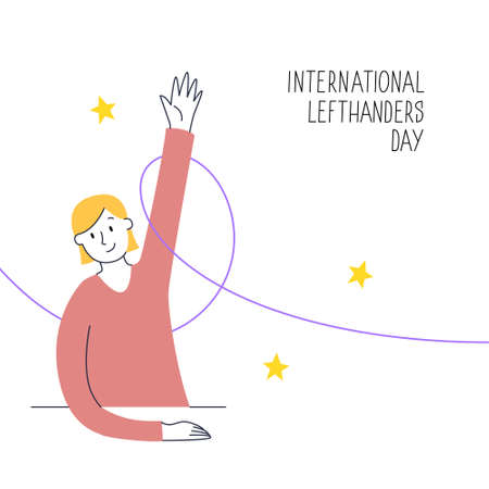 August 13, International Lefthanders Day. Happy Left-handers Day. Support your lefty friend. A sitting girl rises left hand proudly. Vector illustration, modern line style Ilustracja