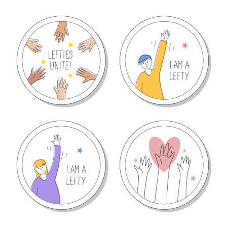 Collection of round pins or stickers for left-handed. August 13, International lefthanders day. Lefties unite, I'm proud to be lefty. Vector illustration, modern line style.