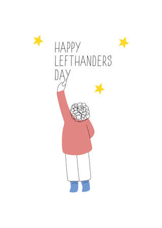 Happy Left-handers Day. August 13, International Lefthanders Day greeting card. Support your lefty friend. Left-handed boy writes on the wall. Vector illustration, line style.