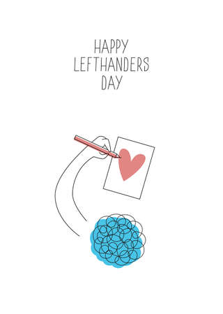 August 13, International Lefthanders Day greeting card. Happy Left-handers Day. Support your lefty friend. A person draws a heart with left hand. Vector illustration, line style.