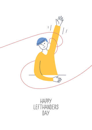 Happy Left-handers Day greeting card. Support your lefty friend. August 13, International Lefthanders Day. A sitting boy rises left hand proudly. Vector illustration, modern line style Ilustracja