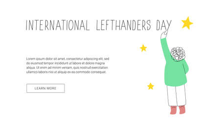 Happy Left-handers Day web banner template. August 13, International Lefthanders Day. Support your lefty friend. Left-handed boy writes on the wall. Vector illustration, line style. Ilustracja