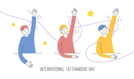 Happy Left-handers Day greeting card. Congratulate your lefty friend. August 13, International Lefthanders Day. Children rise left hands proudly, support and unity concept. Vector illustration.