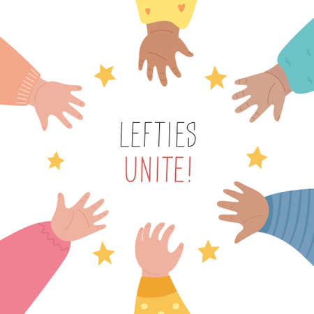Lefties rule concept banner. August 13, International Left-handers Day celebration. Kid's left hands organised in a circle, help and support each other. Event card, line style. Vector illustration.