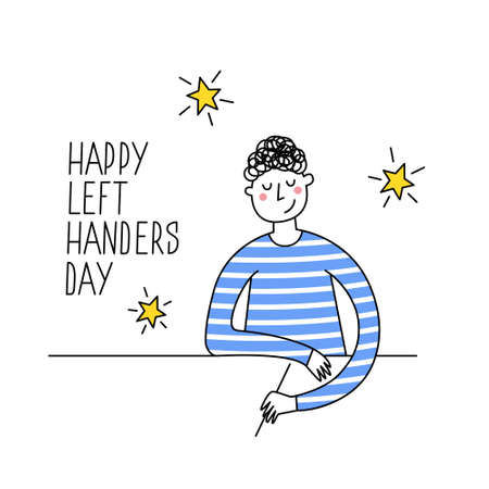 Happy Left-handers Day. August 13, International Lefthanders Day greeting card. Support your lefty friend. Left-handed boy writing or drawing. Vector illustration, modern line style.