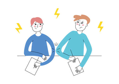 Being left handed: right-left elbow war. Sharing the desk with lefty. Left-handed boy and his right-handed school partner. Vector illustration, modern line style.