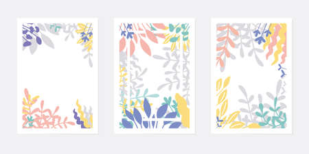 Set of creative universal art cards or posters. Hand drawn leaves and flowers, contemporary modern style. Tropic foliage. Trendy graphic design for invitation, brochure, flyer. Vector illustration.