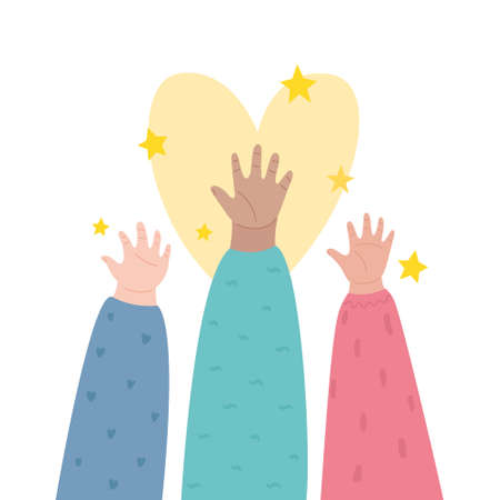 Happy Left-handers Day. August 13, International Lefthanders Day. Support your lefty friend. Kid's left hands raised up together. Vector illustration, line style. Illustration