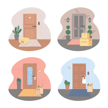 Contactless delivery illustration set. Some purchases left at entrance doormat in boxes, cardboard, plastic or paper bags. Safe shopping to prevent the spread of the corona virus. Vector flat style Ilustrace