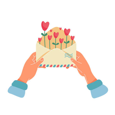 Happy Valentine's day, love or romantic letter concept. Female hands holding envelope with air mail stripes and red hearts growing like flowers. Flat cartoon vector illustration for greeting card.
