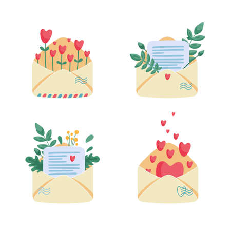 Collection of paper envelopes with letters, notes, flowers and hearts inside. Romantic messages for lovers. Postal service and love mail concept. Flat cartoon vector illustration. Illustration
