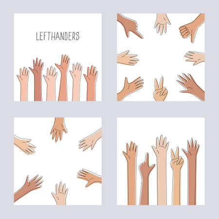 Left handers template collection. Happy Left-handers Day. August 13, International Lefthanders Day. Hands raised up or organized in a circle. Lefty unite and support concept. Vector illustration Ilustracja