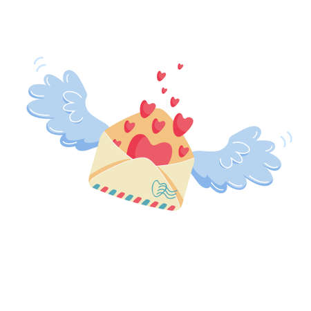 Romantic mail concept. Closed envelope with heart stamp flying on blue angel wings to addressee. Valentine's day symbol of love correspondence illustration isolated on white Ilustracja