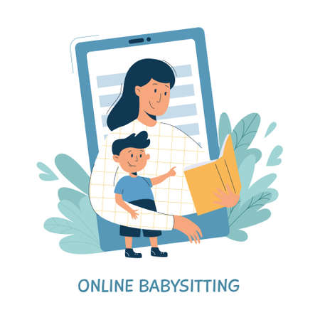 Virtual sitter, online babysitting service, remote teaching concept. Entertaining the kids via internet. Friendly female nanny on your phone.Vector illustration, modern flat style.