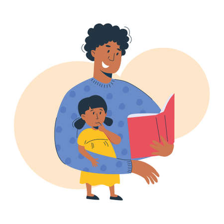 Mother reads a book to her child, african american woman and girl. Mom and daughter reading or studying together. Home education, parenting concept. Vector illustration, modern flat style.