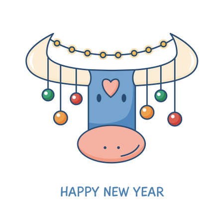 Happy new year greeting card with cute bull, horns decorated with christmas balls and lights. Ox - chinese symbol of the year. Vector illustration, modern line style