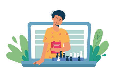 Virtual sitter, online babysitting service, remote teaching concept. Entertaining the kids via internet. Chess lessons and games. Vector illustration, modern flat style.