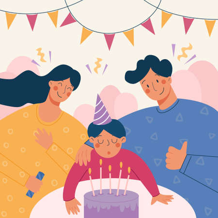 Vector illustration of family celebrating birthday of their son together. Happy family holiday portrait. Baby boy blows out the candles on the cake.