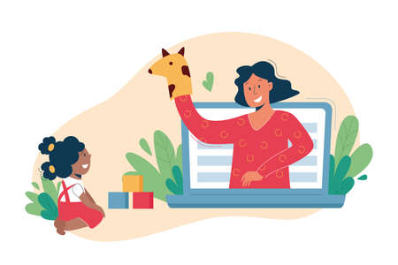 Virtual sitter, online babysitting service, remote teaching concept. Entertaining the kids via internet. Friendly female nanny on your phone. Vector illustration, modern flat style.