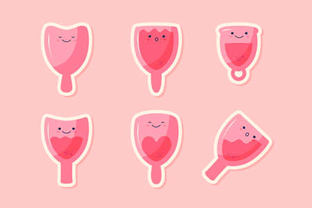 Set of cute menstrual cup characters. Different kinds of silicone cups, empty and full. Illustration for feminine hygiene, medicine, menstruation, zero waste concept. Vector flat cartoon illustration