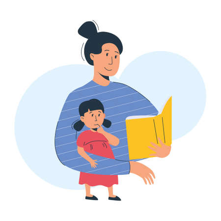 Mother reads a book to her child. Mom and daughter reading or studying together. Home education, parenting concept. Vector illustration, modern flat style.
