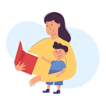 Mother reads a book to her boy child. Mom and son reading or studying together. Home education, parenting concept. Vector illustration, modern flat style.