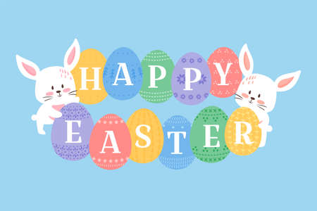 Easter background vector illustration, cute flat cartoon style. Baby rabbits with decorated eggs. Bunny holding ornated eggs with Happy Easter heading. White kitten muzzles and eggs