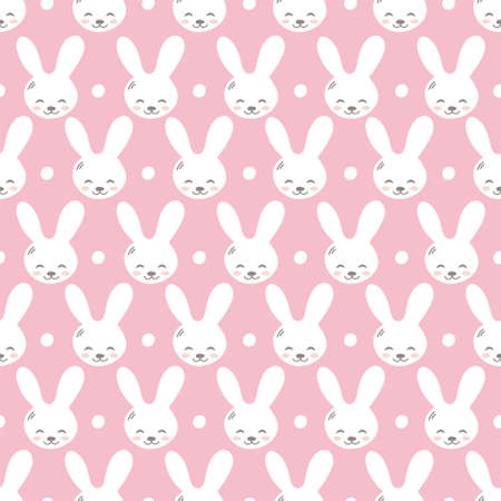 Seamless pattern with cute rabbit muzzles, flat handdrawn style. Geometric ornament with little bunnies. Kitten's pretty heads with little ears. Rhombus greed style pattern vector illustration.