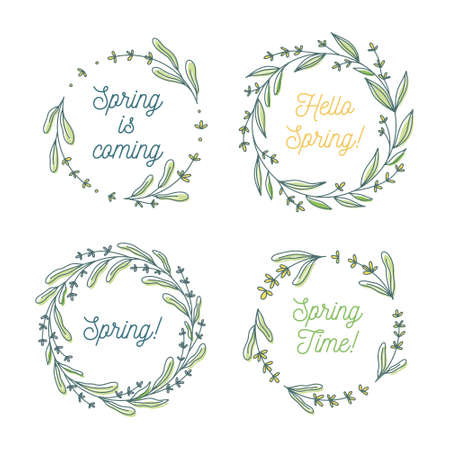 Hello spring, Spring is coming floral wreath collection, hand drawn vector illustration isolated on white. Decorative round frames with flowers and leaves, ink sketch. Ilustrace