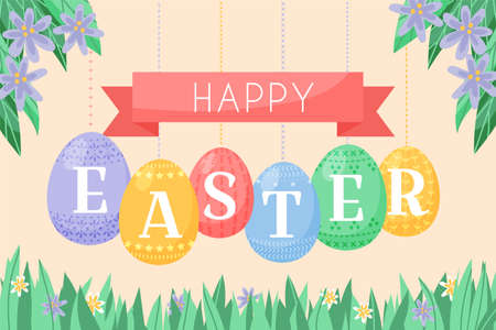 Easter background vector illustration, cute flat cartoon style. Decorated eggs hanging on cords and chains. Happy Easter heading, fresh spring grass and lush foliage with flowers