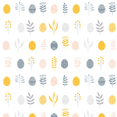 Minimalist scandinavian natural style Easter seamless surface pattern with painted eggs and floral branches, Vector illustration on white background. Nordic folk texture.