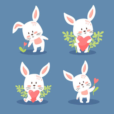 Set of cute Easter or Valentine bunnies. Lovely little rabbits collection. Vector illustration, cartoon flat style. Small kittens in different poses, holding flowers and hearts, isolated. Ilustrace