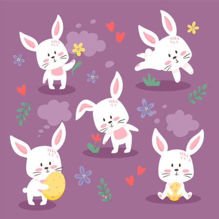 Set of cute Easter bunnies. Lovely little rabbits collection. Vector illustration, cartoon flat style. Small kittens in different poses, holding flowers and eggs, isolated