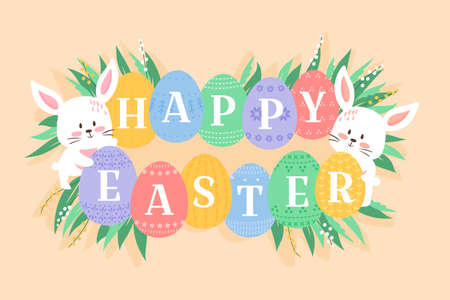 Easter background vector illustration, cute flat cartoon style. Baby rabbits with decorated eggs. Bunny holding ornated eggs with Happy Easter heading. White kitten muzzles and eggs among fresh grass