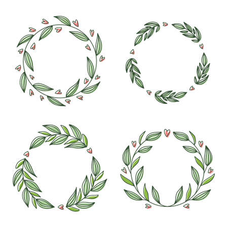 Floral wreath collection, hand drawn vector illustration isolated on white. Decorative round frames with flowers and leaves, ink sketch for wedding event invitations