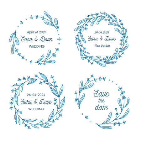 Save the date wedding monogram flower wreath collection, hand drawn vector illustration. Set of round floral frames, handdrawn for marriage ceremony invitation