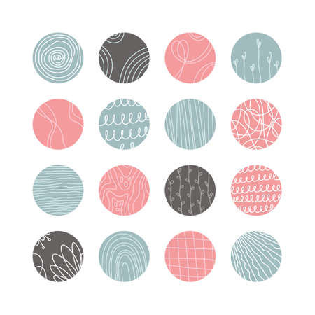 Collection of creative abstract geometric social media highlight covers.Design stories round icon collection.Spots, waves, stripes, spirals, dots, lines, checks and other patterns. Vector illustration