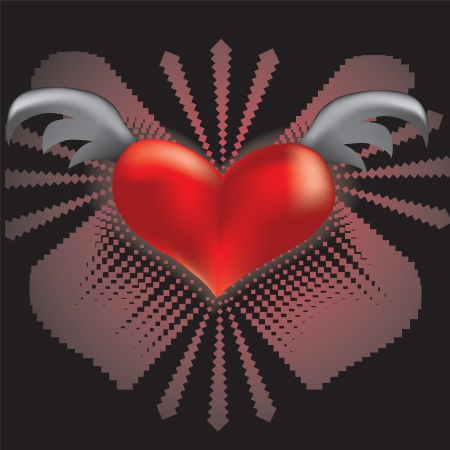heart with wings on abstract background Vector