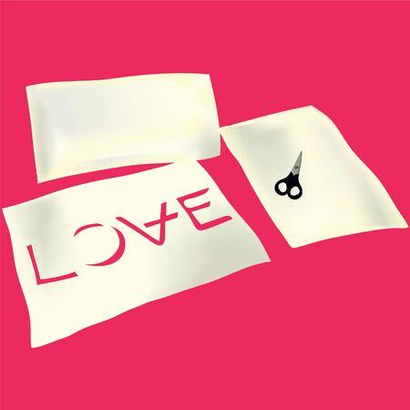 hyphen: forbici su carta e Amore iscrizione