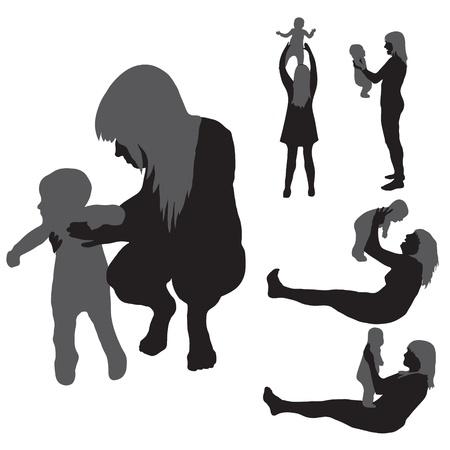 hijos: madre con su hijo diversión Vectores