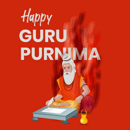 Guru Purnima Wish Vector Template Red Color Grunge
