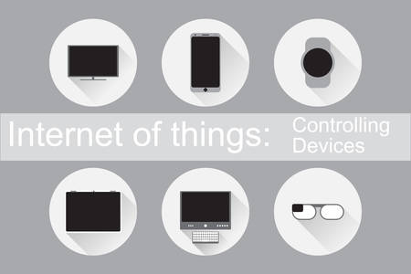 controlling: Internet of Things, IoT. Controlling Devices. Set of flat icons. Vector Illustration EPS10. Illustration