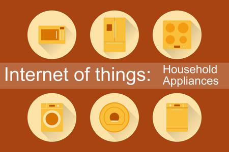 dish washing: Internet of Things, degli oggetti. Elettrodomestici. Set di 6 icone piane. Illustrazione vettoriale EPS10. Vettoriali