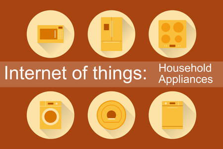 dish washing: Internet of Things, IoT. Household Appliances. Set of 6 flat icons. Vector Illustration EPS10. Illustration