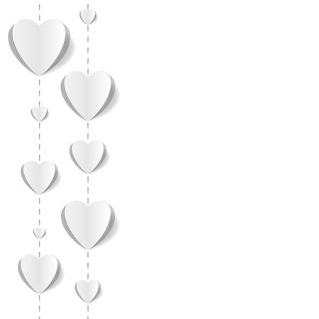 popup: Cut out paper hearts background for wedding, romantic cards. White-on-white, pop up style. Vector Illustration