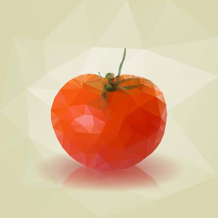 triangular: Red Low Poly Triangular Tomato. Vector Illustration .