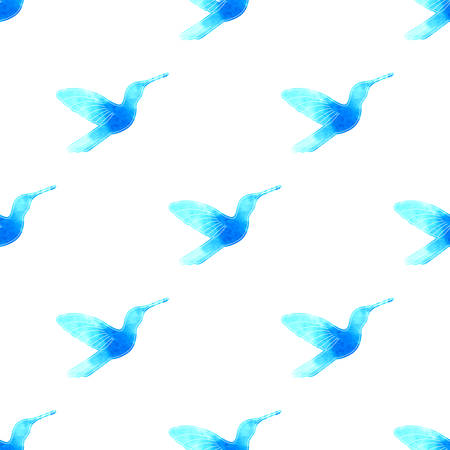 harmony idea: Hand drawn watercolor and sketch style hummingbird. Seamless pattern. Vector Illustration EPS10.