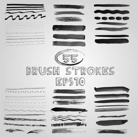 shades of grey: Vector set of grunge shades of grey watercolor brush strokes. Vector Illustration EPS10. Illustration