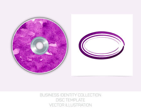dvd cover: Business identity collection: purple watercolor. CD or DVD cover template. Vector Illustration EPS10. Illustration
