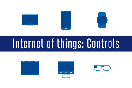 controlling: Internet of Things, IoT. Controlling Devices. Set of 6 flat icons. Vector Illustration.